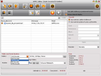 Wbudowany w AIMP2 konwerter plików muzycznych